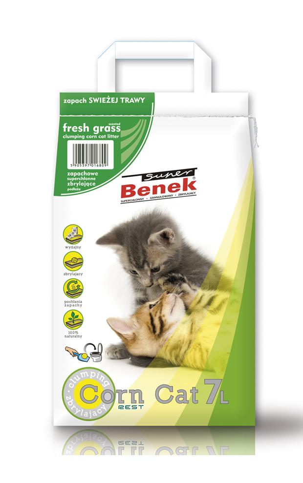 Super Benek Corn Cat stelivo s vůní čerstvá tráva, varianty 7l a 25l