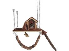 Trixie dřevěné závěšné hřiště s domkem pro myši, křečky 26x22cm