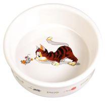 Trixie Keramická miska bílá, motiv kočka s myší 200ml/11cm