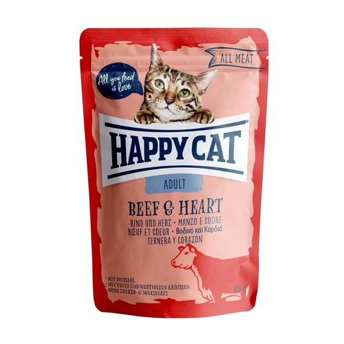 Happy Cat pocket All Meat Adult Beef & Heart 85g