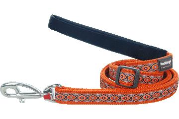 Red Dingo vodítko vzor hadí oči oranžové, 18mm, 1-1,8m