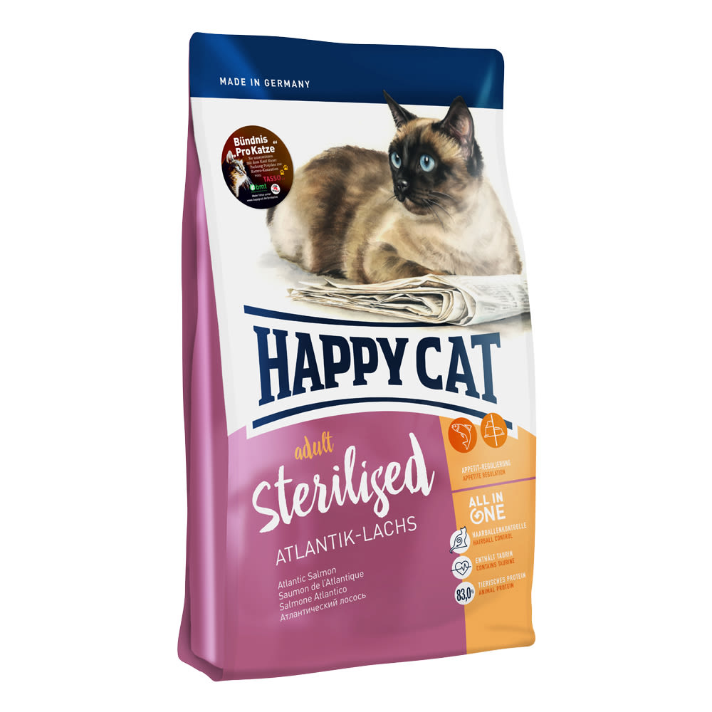 Happy Cat Sterilised Atlantik Lachs (losos) 1,4kg 1+1 zdarma