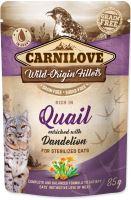 Carnilove Cat kapsička křepelka s pampeliškou 85g