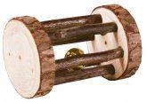 Trixie hrací váleček s rolničkou, dřevo s kůrou, ø 5x7cm
