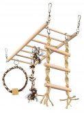 Trixie závěsný žebřík s hračkami - činka, kruh, žebřík pro hlodavce 35x15cm