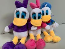 A set of plush characters from Donald the duck